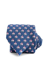 Thomas Pink Elephant And Castle Print Classic Tie Blue Pink