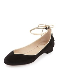 Valentina Carrano Polly Ankle Wrap Skimmer Flat Black Gold