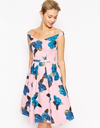 Chi Chi London Off Shoulder Full Prom Midi Dress In All Over Floral Print Multi