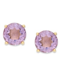 Victoria Townsend 18K Gold Over Sterling Sterling Earrings February's Birthstone Amethyst Stud Earrings 1 3 8 Ct. T.W. None