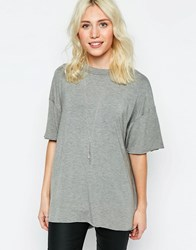 Neon Rose T Shirt With Raw Edge Grey Marl