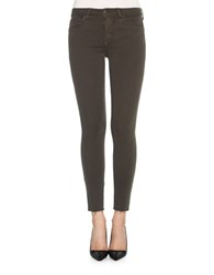 Joe's Jeans Frayed Mid Rise Skinny Ankle Military Green