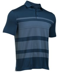 Under Armour Men's Coldblack Striped Golf Polo Navy Slate Blue