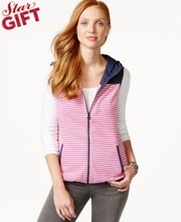Tommy Hilfiger Sunday Hooded Striped Contrast Vest Rose Violet