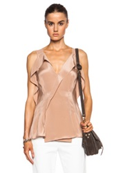 3.1 Phillip Lim Draped Wrap Silk Blouse With Chiffon Straps In Neutrals