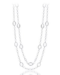 Diana M. Jewels Long 14K White Gold And Topaz Layering Necklace 56 L