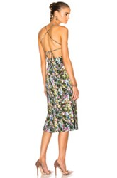Cushnie Et Ochs Donna Open Back Lace Up Dress In Green Floral Green Floral