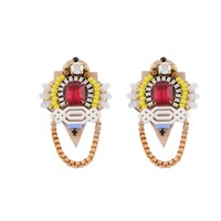 Niino Jewelry Red And Yellow Vintage Statement Earrings Gold