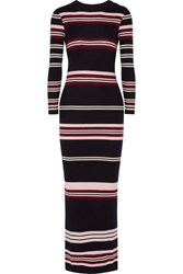 Chinti And Parker Ribbed Striped Merino Wool Maxi Dress Navy