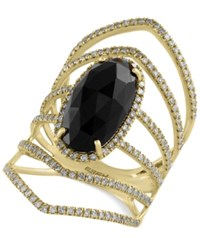 Effy Collection Eclipse By Effy Onyx 4 3 8 Ct. T.W. And Diamond 3 4 Ct. T.W. Statement Ring In 14K Gold Black