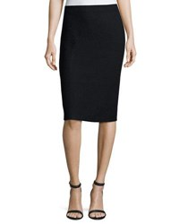 St. John Boucle Knit Pull On Pencil Skirt Blue