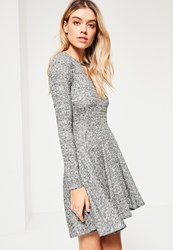 Missguided Grey Rib Keyhole Skater Dress