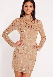 Missguided Premium High Neck Embellished Bodycon Dress Gold Gold