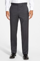 Men's Big And Tall Jb Britches 'Torino' Flat Front Wool Trousers Gunmetal Grey