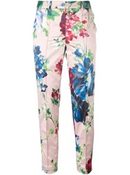 Blumarine Floral Print Cropped Trousers Pink And Purple