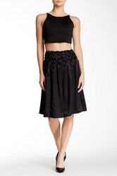 Kas Helen Hand Smocked Silk Skirt Black