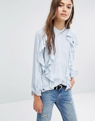 Warehouse Ruffle Blouse Pale Blue