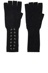 Autumn Cashmere Lace Up Fingerless Gloves Black