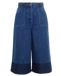 Valentino Two Tone Denim Culottes Blue Denim Dark Blue