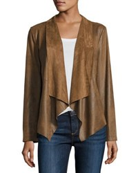 Cusp By Neiman Marcus Faux Suede Open Front Jacket Brown