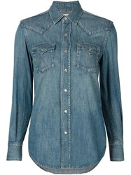Saint Laurent Western Denim Shirt Blue