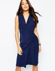 Asos Soft Wrap Pencil Dress With D Ring Navy
