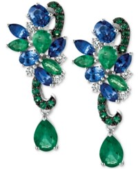 Le Vian Precious Collection Sapphire 1 9 10 Ct. T.W. Emerald 2 1 10 Ct. T.W. And Diamond 1 5 Ct. T.W. Earrings In 14K White Gold Multi