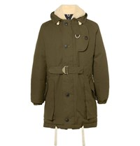 Nigel Cabourn Antarctic Shearling Lined Cotton Canvas Down Parka Green