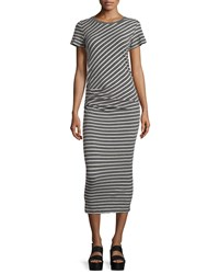 James Perse Short Sleeve Ruched Maxi Dress Heather Charcoal Natural