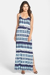 Felicity And Coco Tie Waist Knit Maxi Dress Blue