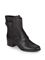 Saks Fifth Avenue Gray Serena Leather Combat Boots Black