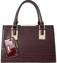 Dune Deedee Faux Leather Tote Berry Plain Synthetic