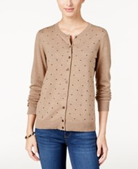Karen Scott Textured Dot Cardigan Only At Macy's Chestnut Heather