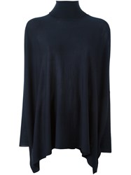 P.A.R.O.S.H. Roll Neck Flared Knitted Blouse Blue