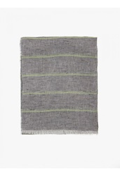 Jil Sander Men's Dark Grey Striped Linen Scarf