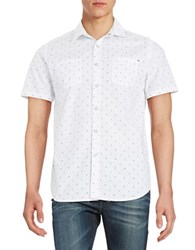 Howe Contrast Patterned Button Down Shirt White