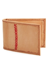 Rawlings Sports Accessories Baseball Stitch Front Pocket Wallet Tan