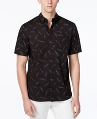 Wht Space Men's Feather Print Short Sleeve Shirt Only At Macy's Black