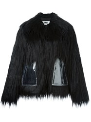Maison Martin Margiela Mm6 Faux Fur Short Coat Black