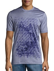 Brioni Horse Graphic Cotton Tee Sky Blue