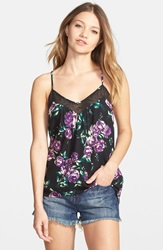 Volcom 'Defiant One' Floral Print Tank Purple Flash