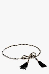 Boohoo Chain And Tassel Rope Belt Black