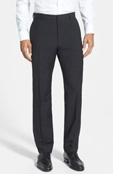 Men's Hugo 'Hamen' Flat Front Wool Trousers Black