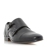 Howick Rumwell Detail Double Strap Monk Shoes Black