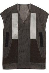 Rick Owens Wool And Denim Paneled Mesh Vest Gray