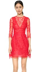 Monique Lhuillier Illusion Lace Dress With Full Skirt Strawberry Red