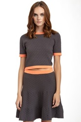 Romeo And Juliet Couture Quilted Short Sleeve Crop Top Multi