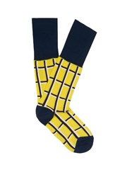 Marni Checked Ankle Socks Yellow Multi