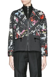 Preen 'Clifford' Abstract Print Cotton Bomber Jacket Multi Colour