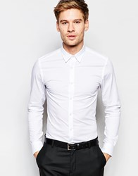Selected Homme Shirt With Concealed Button Down Collar And Stretch In Skinny Fit White